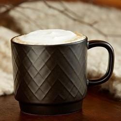 Starbucks Black Diamond Pattern Ceramic Coffee Cup Mug 12 Fl Oz
