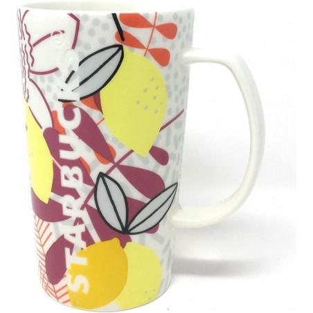 Starbucks 2015 Lemon Tropical Ceramic Cup Mug 16 Fl Oz