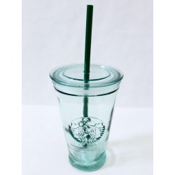 Starbucks Clear Glass Cold Cup Tumbler 16 Fl Oz