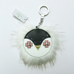Kate Spade Penguin Fur Leather Bag Charm Keyfob keychain