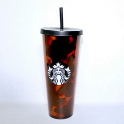 Starbucks 2019 Mocha Tortoise Black Brown Acrylic Cold Cup Venti Tumbler 24 Fl Oz