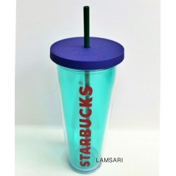 Starbucks Summer Refresher Aqua Blue Acrylic Cold Tumbler 24 Fl Oz