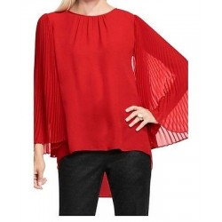 Vince Camuto Pleated Chiffon Bell Sleeve Hot Red Blouse - Size PXXS Petite - High Low