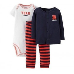 Carter's Boys 3 Pc Set Bodysuites Cardigan Pants - TEAM AUNTIE ROOKIE - Size 3 Months