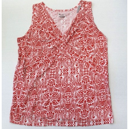 Lane Bryant Orange Floral Print Sleeveless V Neck Top Blouse - Size 16