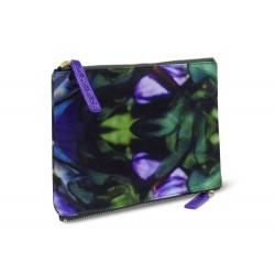 Sonia Kashuk Cosmetic Bag 2-Zip Purse Kit Purple Floral