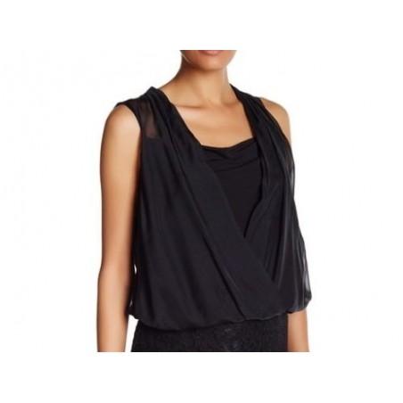 Diane von Furstenberg Black Drape Front Sleeveless Surplice Neck Tank Top - Size S