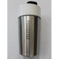 Starbucks Stainless Steel with White Ceramic Liner Travel Mug - 12 Oz - 2015