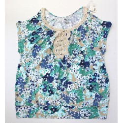Lane Bryant Floral Print Cold Shoulder Embroidered Jewel Top Blouse - Size 14