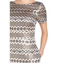 Vince Camuto Gold Shimmer Metallic Geometric Jacquard A-Line Dress - Size 8 Petite