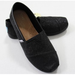 TOMS Youth Classic Shoes Black Glimmer Sparkle Canvas Sneaker Casual - Size 3.6