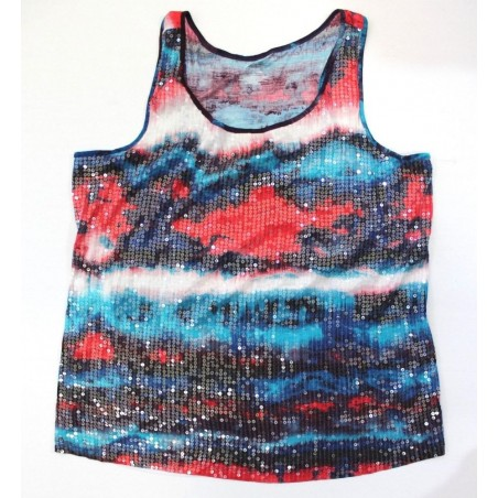 Lane Bryant Red White Blue Sequin Detail Racerback Tank Top - Size 4