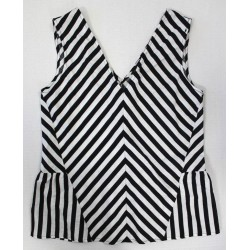 ZARA Basic Women Black & White Striped Sleeveless V Neck Top - Size S