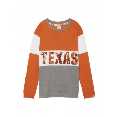 Victoria's Secret Pink University of Texas Longhorn Crew Pullover Bling Shirt - Collegiate Collection - Size M