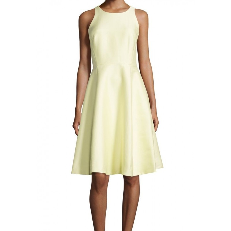 Kate Spade New York Sateen Dress - Light Yellow Double Bow Back Flare - Size 10