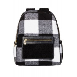 Adam Lippes Shearling Backpack Handbag - Black & White Plaid