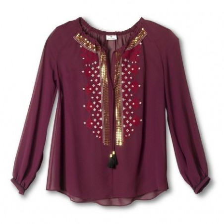 Altuzarra Sheer Peasant Blouse Embroidered Ruby Red Hill - Size S