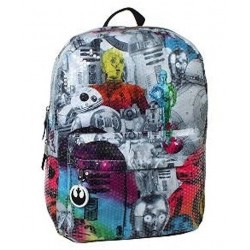 "Disney Star Wars Rainbow Sequin R2D2 C3PO Backpack 16"""