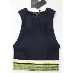 Rag & Bone Sheridan Ribbed-Knit Sleeveless Cropped Top Navy Blue - Size M