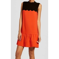 Victoria Beckham Women Orange Drop Waist Scallop Trim Dress - Size XS