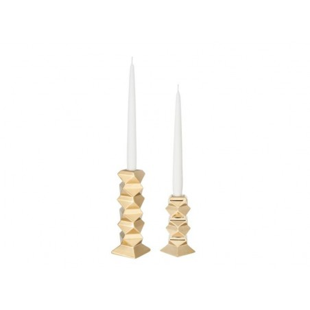 Nate Berkus Small Gold Taper Candle Holders - Pair of Small and Tall Holders