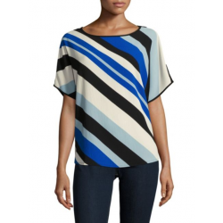 Vince Camuto Diagonal Striped Boatneck Top Blouse Blue Black White