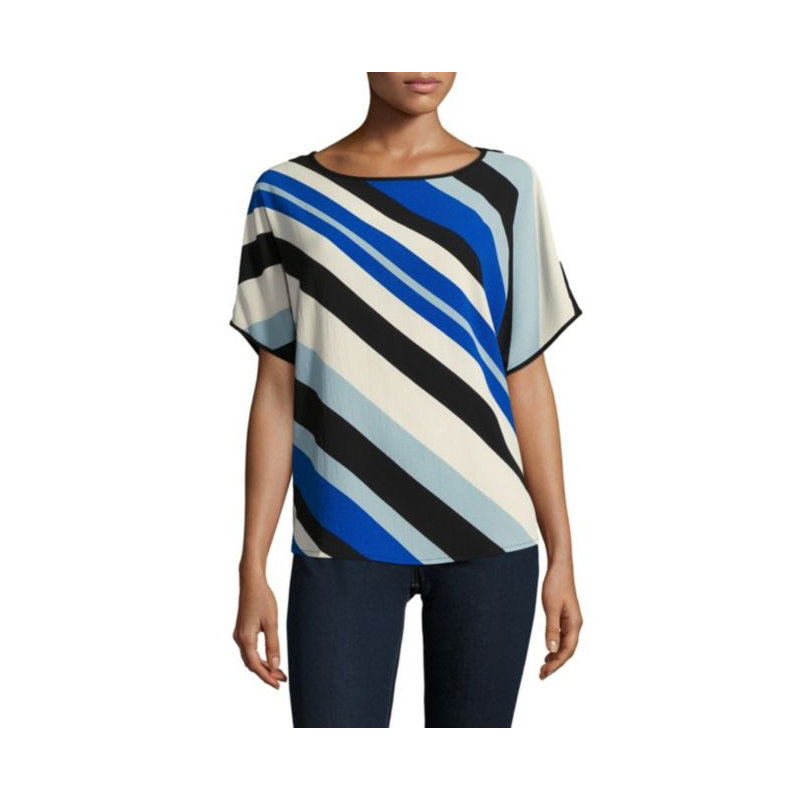 Vince Camuto Diagonal Striped Boatneck Top Blouse Blue Black White