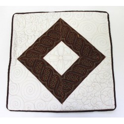 Batik Indonesia Pillow Cushion Cover Cream Brown Black - Handmade Quilt Stitch