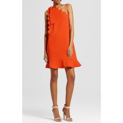 Victoria Beckham Orange One Shoulder Dress with Bow and Scallop Trim
