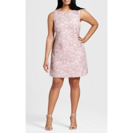 Victoria Beckham Women's Plus Blush Floral Jacquard Dress - Size 3X