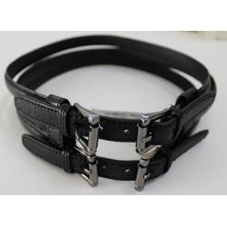 Kenneth Cole Women's Black Triple Panel Belt - Genuine Leather - Size XS