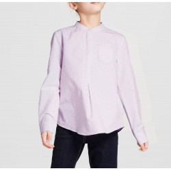 Victoria Beckham Girls' Lilac Swiss Dot Button Down Top with Pocket - Size M