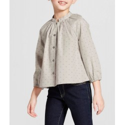 Victoria Beckham Girls' Sage Green Swiss Dot Button Down Top