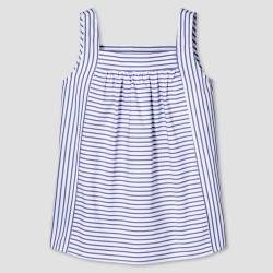 Victoria Beckham Girls' Blue Stripe Poplin Tank Top