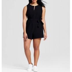 Victoria Beckham Women's Plus Black Tie Waist Romper