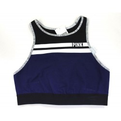 Victoria's Secret PINK Logo Unlined Sports Bra Crop Top Navy Black - Size M