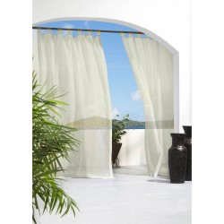 Outdoor Grommet Top Sheer Curtain Panel - Ivory