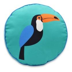 Hot Now Blue Toucan Round Throw Pillow