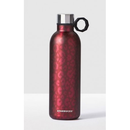 Starbucks Magenta Leopard Pattern Stainless Steel Water Bottle, 20 fl oz