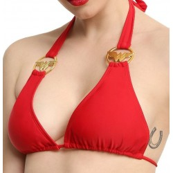 DC Comics Wonder Woman Halter Straps Triangle Swim Bikini Top Red