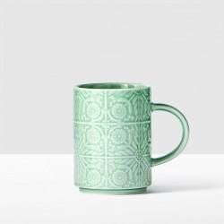 Starbucks Jade Green Floral Handle Mug, 12 fl oz