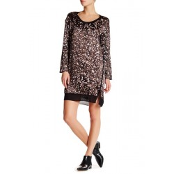 Rag & Bone Spencer Silk Dress - Long Sleeves Allover Print Lights Black - Size S