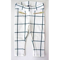 Janie and Jack Girls Windowpane Print Ponte Pants - Ivory