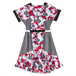 Peter Pilotto Red belted Dress in Floral Print