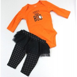 Just One You by Carter's Halloween Orange Bodysuit Black Legging Tutu Se - Size 3 Months
