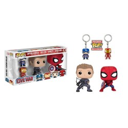 Funko POP Marvel: Civil War Hawkeye & Spiderman Pops, and Iron Man & Captain America Keychains