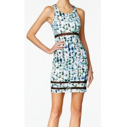 GUESS Los Angeles Blue Floral Print Racerback Mesh Panel Sheath Dress