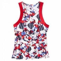 Peter Pilotto Red Floral Print Tank Top Criss Cross Peplum