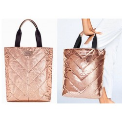 Victoria's Secret Rose Gold Metallic Tote Bag