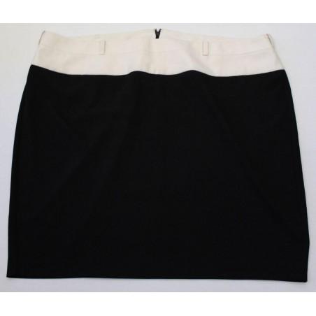 Lane Bryant Plus Szie Black Cream Colorblock Belt Loop Straight Skirt
